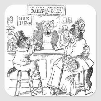 Vintage Cats on Stools Drinking Milk Square Sticker