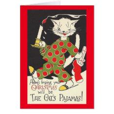 Vintage Cat's Pajamas Christmas Card at Zazzle