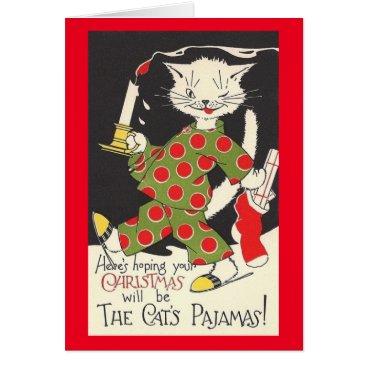 Christmas Themed Vintage Cat's Pajamas Christmas Card