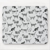 Vintage Cats Pattern Mouse Pad