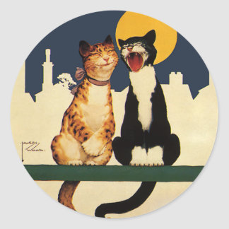Vintage Cats Singing, Funny and Silly Animals Classic Round Sticker