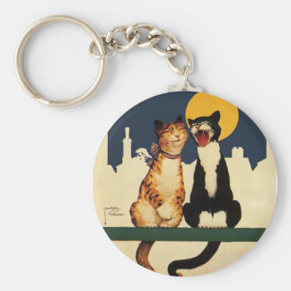 Vintage Cats Singing, Funny and Silly Animals Keychain