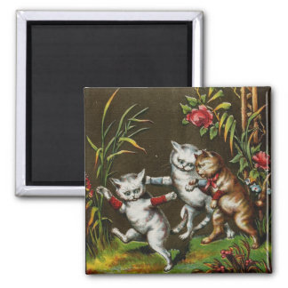 Vintage Cats: Three good friends 2 Inch Square Magnet