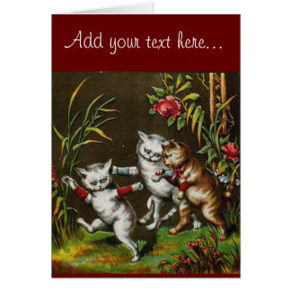 Vintage Cats: Three good friends Greeting Card