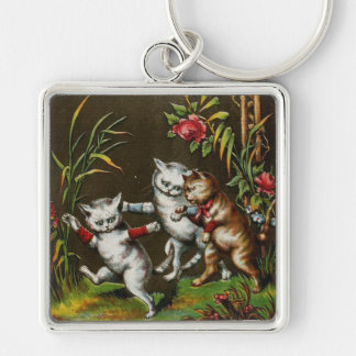 Vintage Cats: Three good friends Keychain