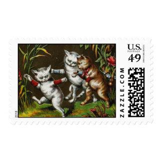Vintage Cats: Three good friends Postage Stamp