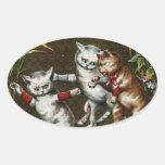 Vintage Cats: Three good friends Stickers