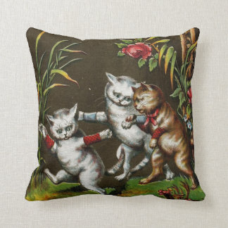 Vintage Cats: Three good friends Throw Pillow