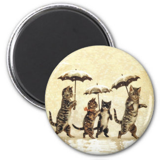 Vintage Cats Umbrella Snow Magnet