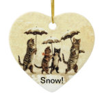 Vintage Cats Umbrellas Snow Double-Sided Heart Ceramic Christmas Ornament