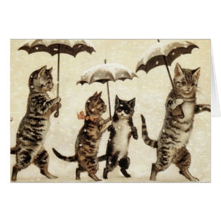 Vintage Cats Walking in the Snow. Card