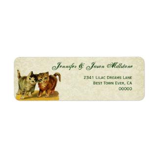 Vintage Cats Wedding Label Return Address Label