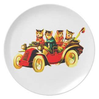 VINTAGE CATS WILD RIDE - FUN & FRIENDS DINNER PLATE