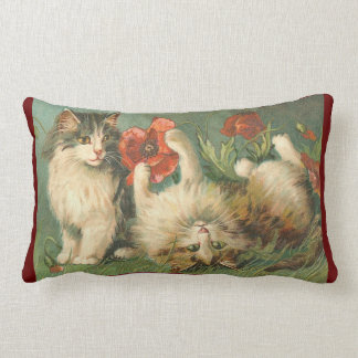 Vintage - Cats with Red Poppies Lumbar Pillow