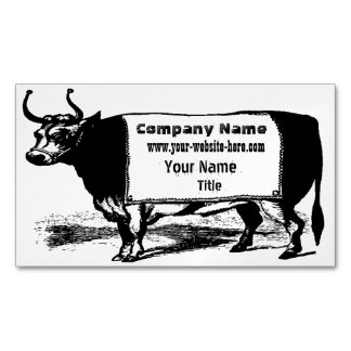 Vintage Cattle Rancher Beef Cow Magnetic Business Card