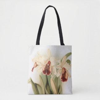 Vintage cattleya dowiana orchid tote bag
