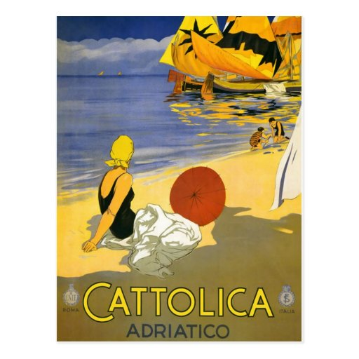 Vintage Cattolica Italian Travel Art Post Card