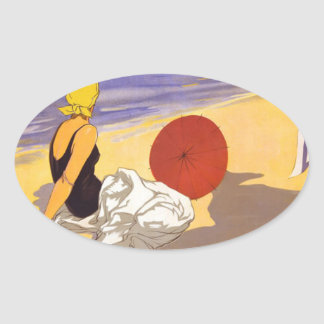 Vintage Cattolica Travel Poster Oval Sticker