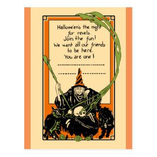 Vintage Cauldron Black Cat and Owl Postcard