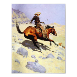 Vintage Cavalry Military, The Cowboy by Remington 4.25x5.5 Paper Invitation Card