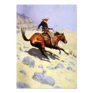 Vintage Cavalry Military, The Cowboy by Remington 5x7 Paper Invitation Card