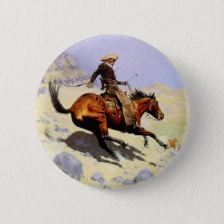 Vintage Cavalry Military, The Cowboy by Remington Button