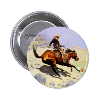 Vintage Cavalry Military, The Cowboy by Remington 2 Inch Round Button