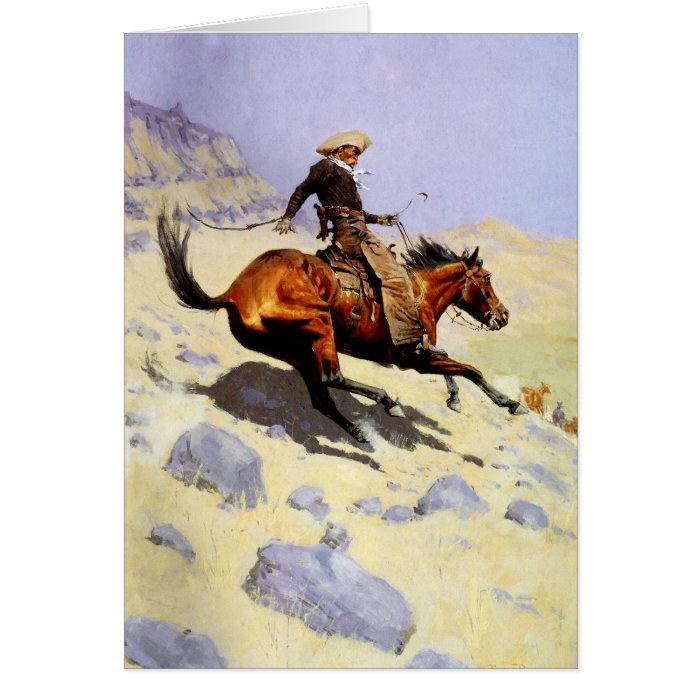 Vintage Cavalry Military, The Cowboy by Remington Card