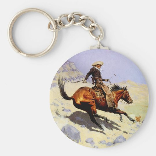 Vintage Cavalry Military, The Cowboy by Remington Keychain