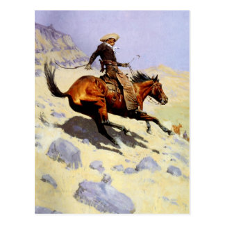 Vintage Cavalry Military, The Cowboy by Remington Postcard