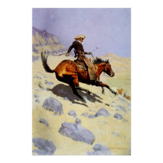 Vintage Cavalry Military, The Cowboy by Remington Poster