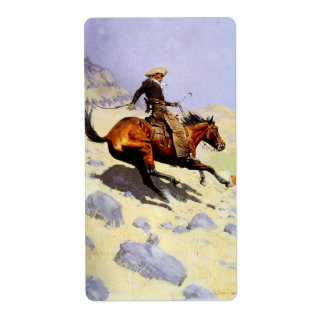 Vintage Cavalry Military, The Cowboy by Remington Shipping Label