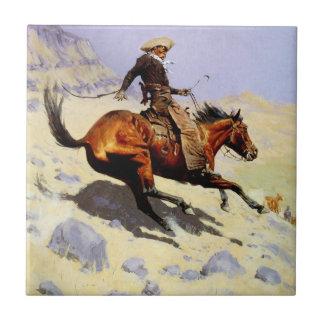 Vintage Cavalry Military, The Cowboy by Remington Tile