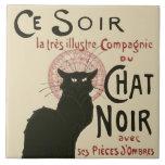 Vintage Ce Soir Le Chat Noir Poster Ceramic Tile