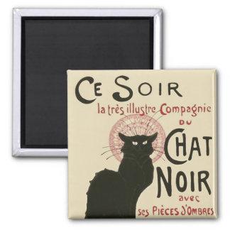 Vintage Ce Soir Le Chat Noir Poster 2 Inch Square Magnet
