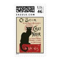 Vintage Ce Soir Le Chat Noir Poster Stamp