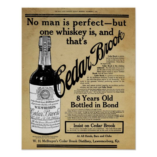 Vintage Cedar Brook Whiskey Bar Print Ad Zazzle Com