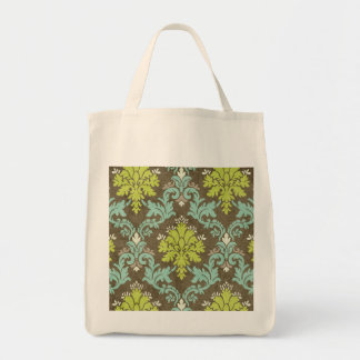 Vintage Celadon and Aqua Damask Canvas Bag