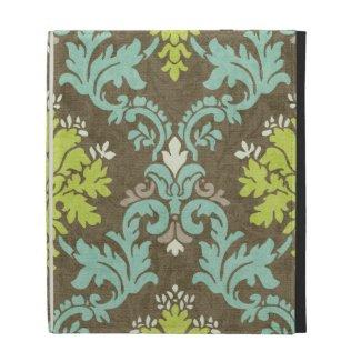 Vintage Celadon and Aqua Damask iPad Case