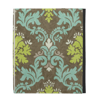 Vintage Celadon and Aqua Damask iPad Folio Cases