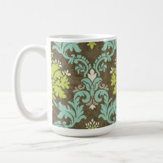 Vintage Celadon and Aqua Damask Classic White Coffee Mug