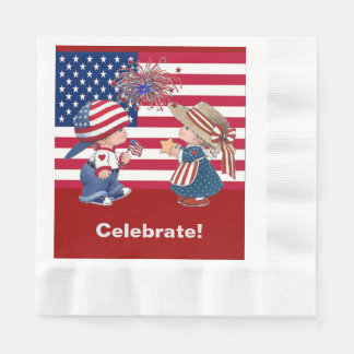 Vintage Celebrate American Flag Luncheon Napkin