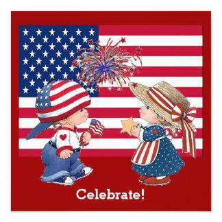 Vintage Celebrate American Flag Party Invitation