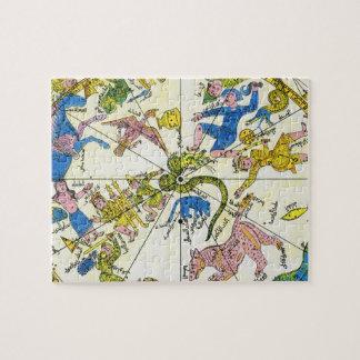 Vintage Celestial, Antique Constellation Map Stars Jigsaw Puzzle