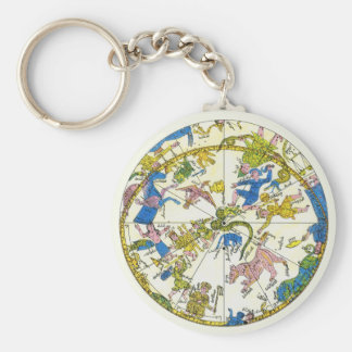 Vintage Celestial, Antique Constellation Map Stars Key Chains