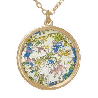 Vintage Celestial, Antique Constellation Stars Map Round Pendant Necklace