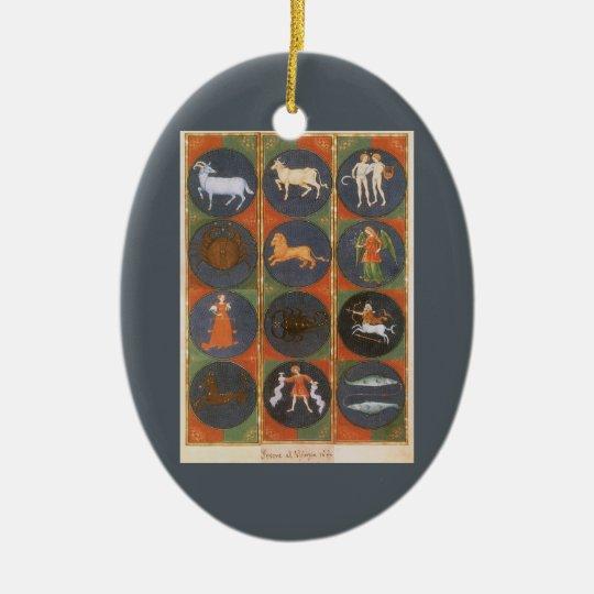 Vintage Celestial, Astrological Zodiac Chart, 1475 Ceramic Ornament