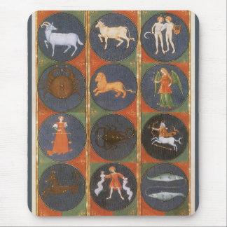 Vintage Celestial, Astrological Zodiac Chart, 1475 Mouse Pad
