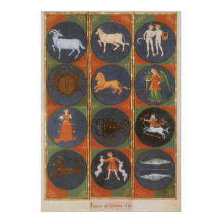 Vintage Celestial, Astrological Zodiac Chart, 1475 Poster