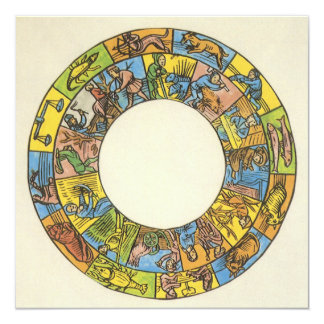 Vintage Celestial, Astrological Zodiac Wheel Card